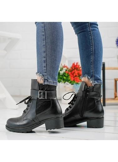 Ayakland Ayakland 3883-142 Siyah Günlük Termo Fermuarlı Bayan Cilt Bot Ayakkabı Siyah